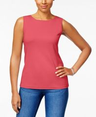 Image of Karen Scott Cotton Sleeveless Crew-Neck Top, Created for Macy's