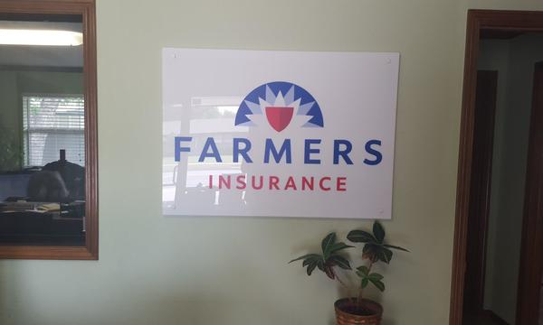 farmers insurance sign inside the office