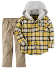Image of Carter's 2-Pc. Cotton Layered-Look Plaid Shirt & Pants Set, Baby Boys