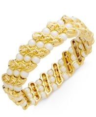 Image of Charter Club Gold-Tone Imitation Pearl & Chain Stretch Bracelet, Created for Macy's