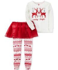 Image of Carter's 3-Pc. Merry & Bright Tutu Pajama Set, Baby Girls (0-24 months)