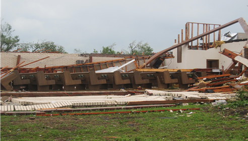 Damaged buildings after tornado hit Joplin, Missouri