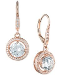 Image of Anne Klein Round Crystal and Pavé Drop Earrings