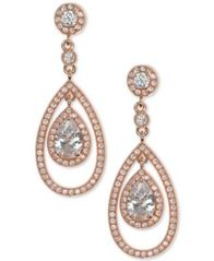 Image of Anne Klein Crystal and Pavé Orbital Drop Earrings