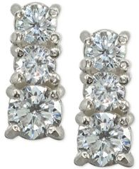 Image of Giani Bernini Cubic Zirconia Graduated Stud Earrings in Sterling Silver, Created for Macy's