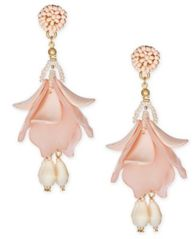 Image of I.N.C. Gold-Tone Resin Petal Shaky Drop Earrings, Created for Macy's