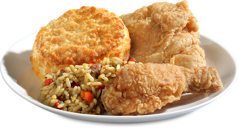 """Two pieces Bojangles' fried chicken with buttermilk biscuit and dirty rice."""