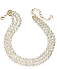 "Image of Charter Club Gold-Tone Imitation Pearl Triple-Row Choker Necklace, 16"" + 2"" extender, Created for Ma"