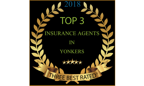 An award plaque for being one of the top 3 insurance agents in Yonkers, NY.