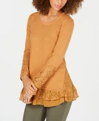 Image of Style & Co Lace-Trim Sweater, Created for Macy's