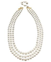 Image of Charter Club Three Row White Simulated Pearl (10 mm)
