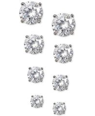Image of Giani Bernini 4-Pc. Set Cubic Zirconia Stud Earrings in Plated Sterling Silver, Created for Macy's
