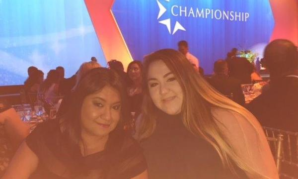 Agent Miryam Calderon and her staff member Viviana at the Championship Awards in Boston in 2016.