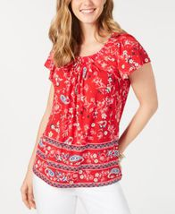 Image of Style & Co Printed Pleated Scoop-Neck Top, Created for Macy's