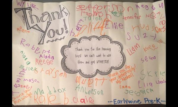 Thank you note from Earlywine Pre-K for the learning toys the Hale Agency donated!