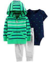 Image of Carter's Baby Boys 3-Pc. Cotton Hoodie, Bodysuit & Jogger Pants Set