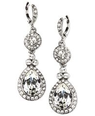 Image of Givenchy Earrings, Silver-Tone Swarovski Element Double Drop Earrings