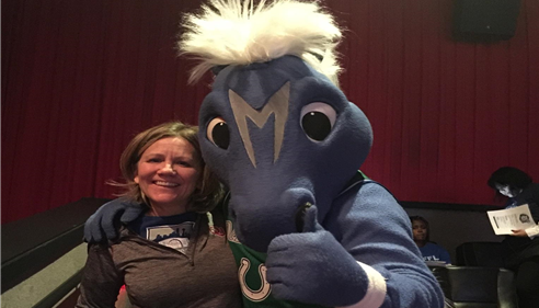 Paula and Dallas Mavericks Mascot at a Watch Party- Mavs VS Bulls, Great times.