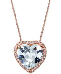 Image of Giani Bernini Cubic Zirconia Heart Pendant Necklace in 18k Rose Gold-Plated Sterling Silver, Created