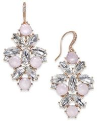 Image of Charter Club Rose Gold-Tone Crystal & Pink Stone Drop Earrings, Created for Macy's