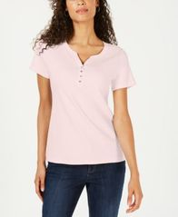 Image of Karen Scott Short Sleeve Henley Top, Created for Macy's