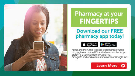 Lady using her pharmacy mobile app on her smartphone.  Pharmacy at your Fingertips!