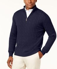 Image of Club Room Men's Cable Quarter-Zip Pima Cotton Sweater, Created for Macy's