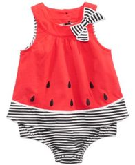 Image of First Impressions Watermelon Cotton Skirted Romper, Baby Girls, Created for Macy's