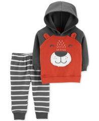 Image of Carter's Baby Boys 2-Pc. Fleece Bear Hoodie & Striped Jogger Pants Set