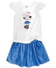 Image of Disney's® Minnie Mouse 2-Pc. Graphic Top & Skirt Set, Little Girls (4-6X)