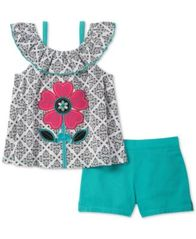 Image of Kids Headquarters Baby Girls 2-Pc. Flower Printed Top & Shorts Set