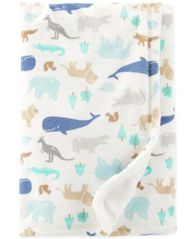 Image of Carter's Baby Boys Animal-Print Plush Blanket