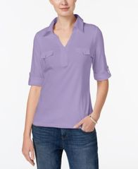 Image of Karen Scott Cotton Roll-Tab-Sleeve Shirt, Created for Macy's
