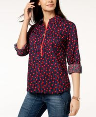 Image of Tommy Hilfiger Cotton Half-Zip Printed Popover Top, Created for Macy's