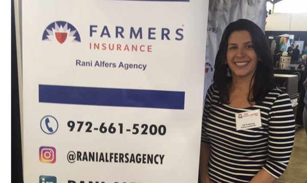 Agent Rani, next to a Farmers sign with her social media profiles.