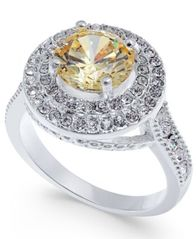 Image of Charter Club Silver-Tone Pavé & Yellow Stone Ring, Created for Macy's