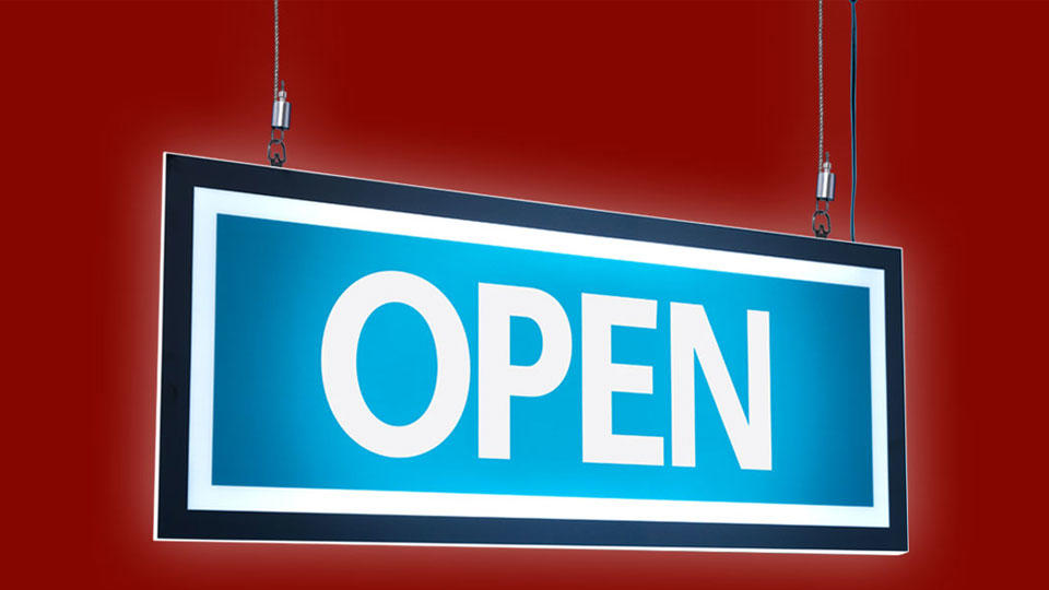 Neon open sign with holiday background