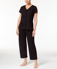 Image of Charter Club Short Sleeve Top and Cropped Pant Pajama Set, Created for Macy's