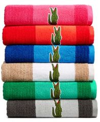 Image of Lacoste Match Cotton Colorblocked Bath Towel