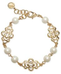 Image of Charter Club Gold-Tone Openwork Flower & Imitation Pearl Link Bracelet, Created for Macy's