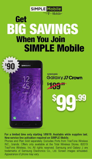 Get big savings when you join SIMPLE Mobile - Samsung Galaxy J7 Crown