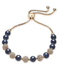 Image of Charter Club Gold-Tone Crystal Bead & Colored Imitation Navy Pearl Slider Bracelet, Created for Macy