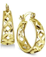 Image of Giani Bernini Floral Hoop Earrings, Created for Macy's