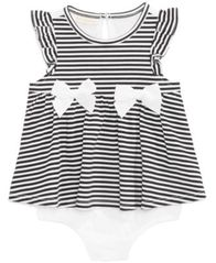 Image of First Impressions Baby Girls Striped Skirted Romper, Created for Macy's