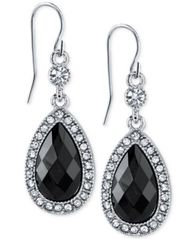 Image of 2028 Silver-Tone Black Stone Crystal Teardrop Earrings, a Macy's Exclusive Style