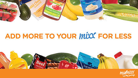 Add more to your mix for less. Different food items around MyMixx program image.
