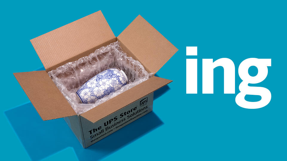Vase in a shipping box with packing material