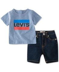 Image of Levi's® Baby Boys 2-Pc. T-Shirt & Denim Shorts Set, Created for Macy's