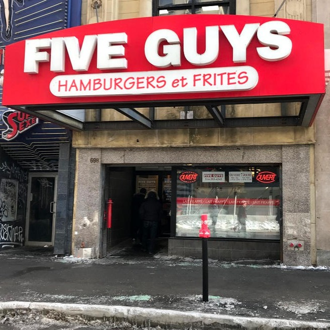 Five Guys at 698 Rue Sainte-Catherine Ouest in Montreal.