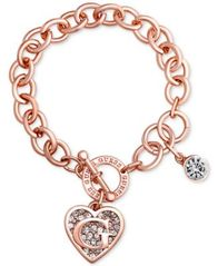 Image of GUESS Rose Gold-Tone Link Charm Bracelet